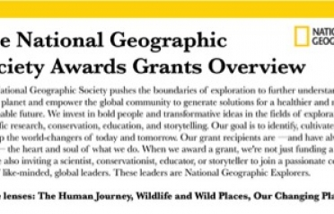 The National Geographic Society Awards Grants...